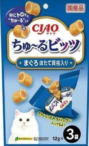 Подушечки для кошек с начинкой на основе японского тунца и гребешка 3*12гр