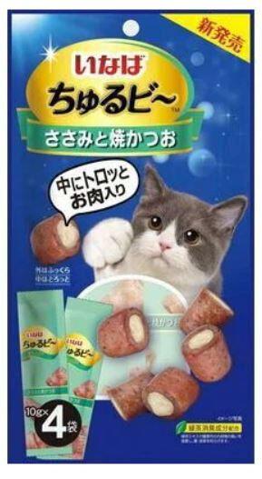 Лакомство INABA для кошек в виде запечённых трубочек с начинкой на основе тунца бонито и курицы 10гр х 4шт