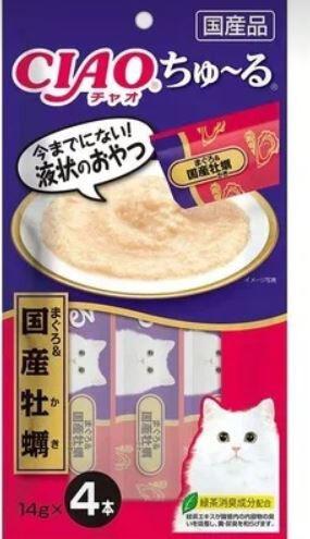 """Лакомство INABA соус для кошек тунец-бонито и японские устрицы, нежный паштет """"Чуру"""" 4*14гр"""
