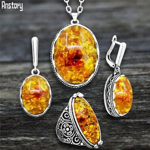 Набор украшений для женщин, античное серебряное покрытие