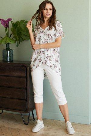 Блуза 380, белый/принт цветы