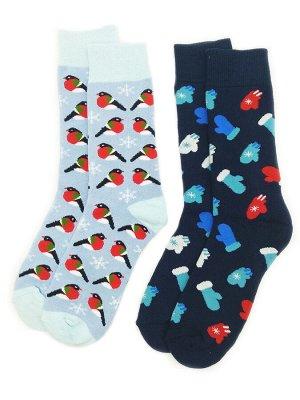 Носки махровые цветные 2 пары (разм 35-38)