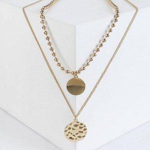 """Кулон двойной """"Цепь"""" сталь, медальоны, цвет золото, 48-68 см"""