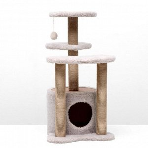 Игровой комплекс с домиком, 3 площадками и игрушкой, 50х50х85 см, тёмно-бежевый