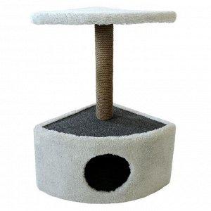 Домик угловой округлый для животных, 39 х 39 х 69 см, джут, светло-серый