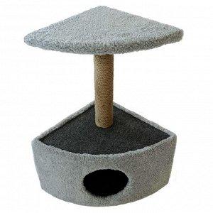 Домик угловой округлый для животных, 39 х 39 х 69 см, джут, темно-серый