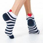 Active  Короткие носки с пикотом-«сердечком» в полоску