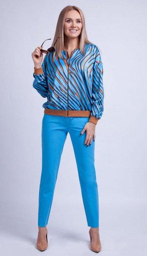 Костюм Костюм Azzara 784  Состав: Блуза: ПЭ-100%; Брюки: Вискоза-25%; ПЭ-73%; Спандекс-2%; Сезон: Весна Рост: 170  Комплект женский брючный состоящий из блузы и брюк из разных видов ткани.Блуза свобо