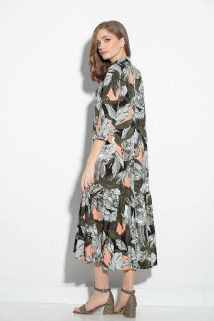 Платье Платье Gizart 5062-1цв  Состав: Вискоза-85%; ПЭ-15%; Сезон: Лето Рост: 164  Платье А-образного силуэта. Перед с нагрудными вытачками. По центру переда обработана застежка-цельнокроеная планка