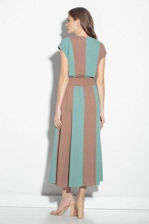 Платье Платье Gizart 1159  Состав: Вискоза-100%; Сезон: Лето Рост: 164  Платье женское Х-образного силуэта со спущенным плечом отрезное по линии талии, состоящее из двух цветов ткани, расположеных по