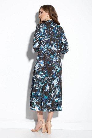 Платье Платье Gizart 5062-1т  Состав: Вискоза-85%; ПЭ-15%; Сезон: Лето Рост: 164  Платье А-образного силуэта. Перед с нагрудными вытачками. По центру переда обработана застежка-цельнокроеная планка н
