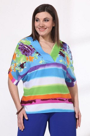Блуза Блуза VIOLA 1118 мультиколор  Состав: Вискоза-100%; Сезон: Весна-Лето Рост: 164  Блуза из легкой вискозной ткани в полоску с цветочным принтом прямого силуэта. Рукава цельнокроеные на манжетах,