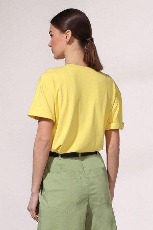 Джемпер Джемпер VIOLA 1117 желтый  Состав: Вискоза-100%; Сезон: Весна-Лето Рост: 164  Джемпер прямого силуэта с втачным покроем рукавов. Спереди декорирован полоской с оригинальной объемной печатью.