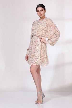 Платье Платье VIOLA 0965 молочный  Состав: ПЭ-100%; Сезон: Весна-Лето Рост: 164  Летящее платье из полупрозрачного шифона с мелким дизайном в цветочек на подкладке пудрового оттенка. Платье отрезное