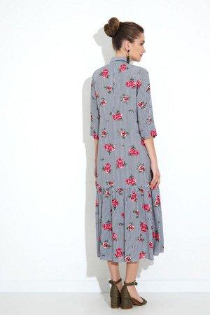 Платье Платье Gizart 5062-2  Состав: Вискоза-85%; ПЭ-15%; Сезон: Лето Рост: 164  Платье А-образного силуэта. Перед с нагрудными вытачками. По центру переда обработана застежка-цельнокроеная планка на