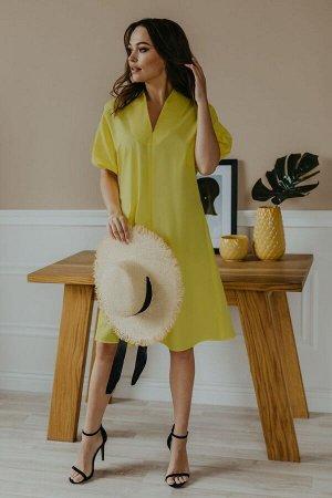 Платье Платье Temper 412 желтый  Состав: Спандекс-3%; Хлопок-97%; Сезон: Лето Рост: 164  Платье свободного покроя А- силуэта, V- образный вырез горловины, рукав короткий летучая мышь, низ рукава на р