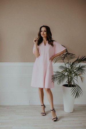 Платье Платье Temper 412 розовый  Состав: Спандекс-3%; Хлопок-97%; Сезон: Лето Рост: 164  Платье свободного покроя А- силуэта, V- образный вырез горловины, рукав короткий летучая мышь, низ рукава на