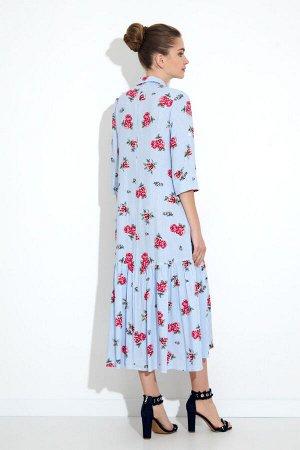 Платье Платье Gizart 5062-3  Состав: Вискоза-85%; ПЭ-15%; Сезон: Лето Рост: 164  Платье А-образного силуэта. Перед с нагрудными вытачками. По центру переда обработана застежка-цельнокроеная планка на