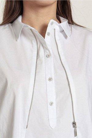 Рубашка Рубашка NOCHE MIO 6.096  Состав: ПЭ-23%; Спандекс-3%; Хлопок-74%; Сезон: Весна-Лето Рост: 164  Хлопковая блузка свободного кроя с отложным воротником -стойкой, имеет функциональную молнию, ни