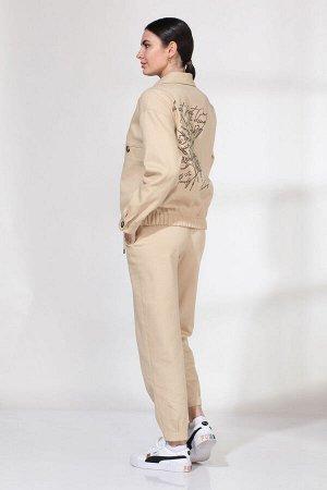 Костюм Костюм VIOLA 20558 бежевый  Состав: Вискоза-30%; Хлопок-65%; Эластан-5%; Сезон: Весна-Лето Рост: 164  Джинсовый костюм из двух предметов: куртка и брюки. Куртка прямого силуэта с центральной з