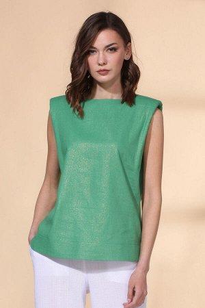 Блуза Блуза VIOLA 1122 зеленый  Состав: Вискоза-45%; Лён-55%; Сезон: Весна-Лето Рост: 164  Блуза свободного силуэта из льняной ткани с напылением. На спинке разрез с люверсами и цепочкой. Длина блузы