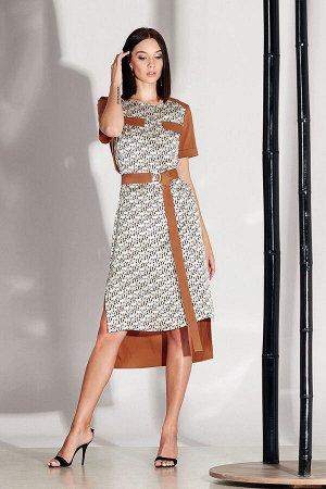 Платье Платье NOCHE MIO 1.140  Состав: Вискоза-62%; Хлопок-38%; Сезон: Лето Рост: 164  Дизайнерское платье, выполненное из комбинированных полотен. Тканевый пояс в комплекте.