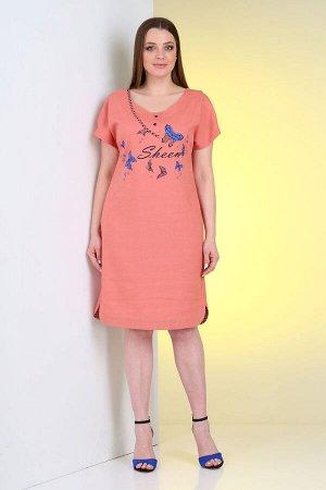 Платье Платье VIOLA 0972 коралловый  Состав: Вискоза-45%; Лён-55%; Сезон: Лето Рост: 164  Летнее платье прямого силуэта из льняной ткани. Платье декорировано печатью и отделочной тканью в клетку, вве