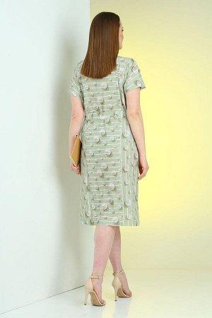 Платье Платье VIOLA 0973 зеленый  Состав: Вискоза-70%; ПЭ-25%; Спандекс-5%; Сезон: Лето Рост: 164  Стильное платье из легкой ткани в полоску с цельнокроеными рукавами. Нижняя часть разной длины. В бо