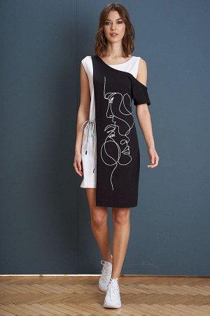Платье Платье Fantazia Mod 3946  Состав: Спандекс-4%; Хлопок-96%; Сезон: Лето Рост: 164  Девиз лета - минимализм, комфорт и простота. Лаконичное платье-майка, дополненное съёмной асимметричной накидк