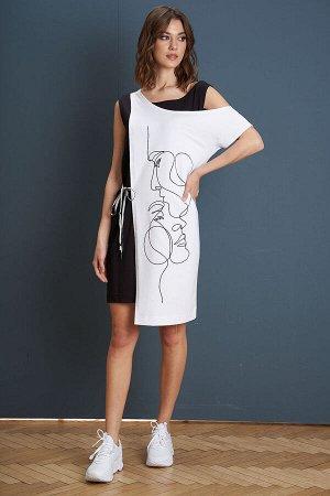 Платье Платье Fantazia Mod 3946/1  Состав: Спандекс-4%; Хлопок-96%; Сезон: Лето Рост: 164  Девиз лета - минимализм, комфорт и простота. Лаконичное платье-майка, дополненное съёмной асимметричной наки