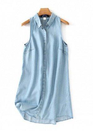 Женская туника-рубашка без рукавов, цвет голубой