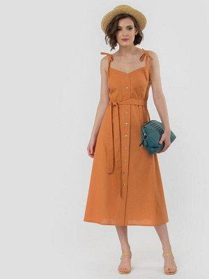 Платье Летний льняной сарафан длины миди, тонкие брители завязываются на бантик и добавляют изюминку образу. Застежка по переду на кнопки по всей длинне, спинка присборена на резинку. Данная модель ид