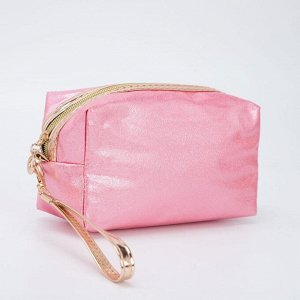 Косметичка дорожная, отдел на молнии, с ручкой, цвет розовый
