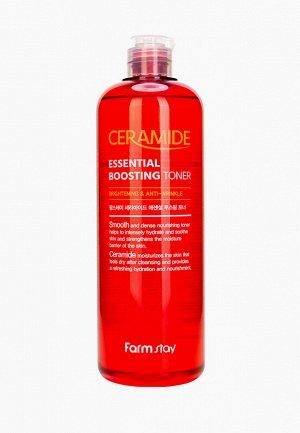 Укрепляющий тонер-бустер с керамидами FarmStay Ceramide Essential Boosting Toner 500ml