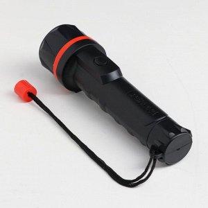 Фонарь ручной «Рекорд» ММ-0203, 3 светодиода, чёрный с красным ободом