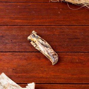 Нож перочинный лезвие 7,5см, рукоять птица хаки (фиксатор, кнопка) 17см МИКС