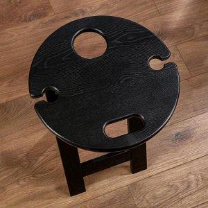 """Стеллаж из дерева """"Винный"""", массив ясеня, цвет-черный, 60 х 40 см"""