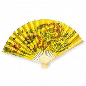 Опахало Желтое ДРАКОН атласное 60см дарует изобилие и защиту