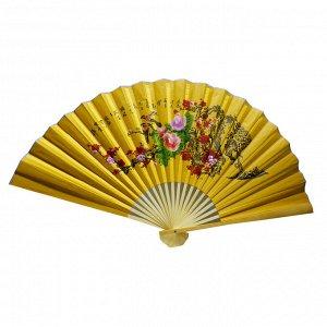 Опахало Желтое ПТИЦЫ НА САКУРЕ атласное 60см символ удачного счастливого брака