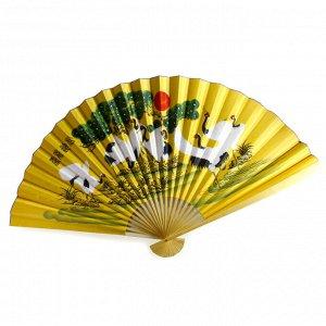 Опахало желтое Журавли 90см символ удачи и семейного благополучия
