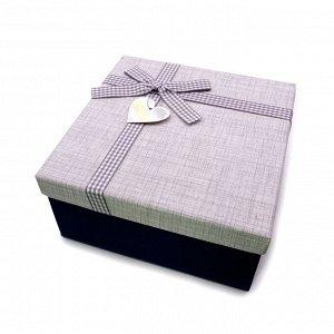 Коробочка СИНЯЯ Big подарочная с бантиком 19.5см-19.5см-9.5см
