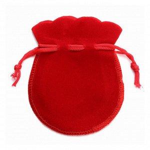 Мешочек подарочный красный бархатный 9см-12см фигурный