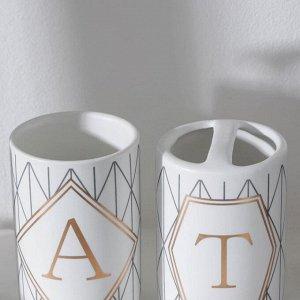 Набор аксессуаров для ванной комнаты Bath, 4 предмета (дозатор 400 мл, мыльница, 2 стакана), цвет белый