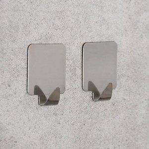 Набор крючков на липучке «Квадрат», 2 шт, металл