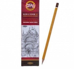 Карандаш чернографитный 2.0 мм, Koh-I-Noor 1500 B, профессиональный, L=175 мм