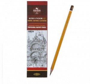 Карандаш чернографитный 2.5 мм, Koh-I-Noor 1500 5B, профессиональный, L=175 мм
