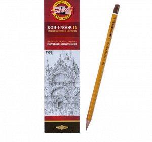 Карандаш чернографитный 2.5 мм, Koh-I-Noor 1500 7B, профессиональный, L=175 мм
