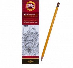 Карандаш чернографитный 2.5 мм, Koh-I-Noor 1500 8B, профессиональный, L=175 мм
