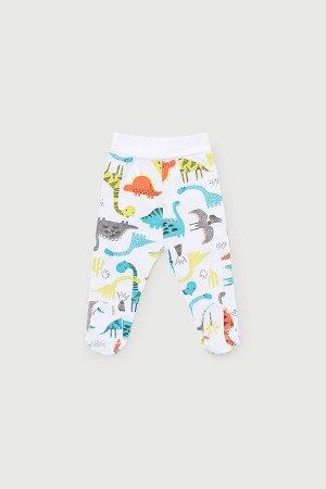 Ползунки для мальчика Crockid К 400011 цветные динозавры на белом