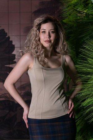 Блуза Блуза без рукавов с рельефными линиями по переду из мягкого трикотажа — это идеальная замена корсета! Декоративная отстрочка на рельефных линиях по переду визуально создает эффект корсета, вытяг